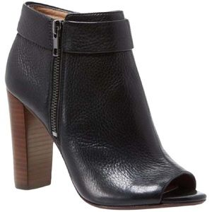 Splendid Black Leather Open-Toe Heeled Booties 9.5